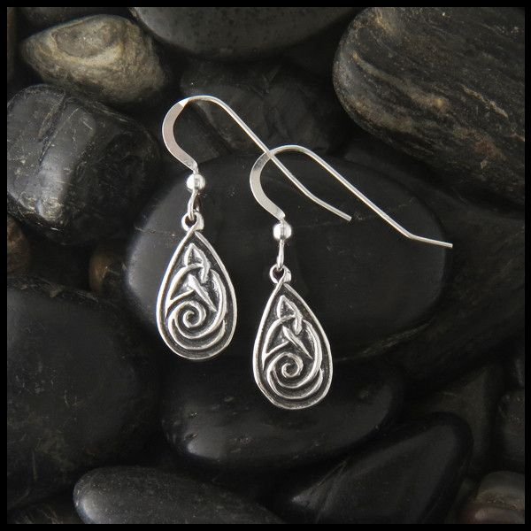 Sterling Silver Triquetra Celtic Drop Earrings in two sizes. Available in 14K Yellow, Rose & White gold Item number: SW3110-SW3153 Original designs © Stephen Walker Prices subject to change. Please ca
