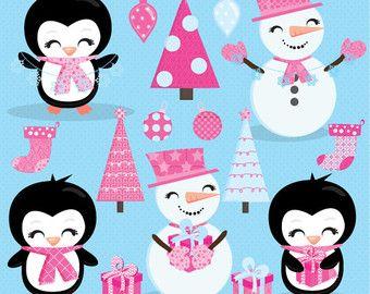 Navidad clipart, imágenes prediseñadas de muñeco de nieve lindo, lindo pingüino Imágenes Prediseñadas, imágenes prediseñadas de muñecos de nieve, siembra, árboles de Navidad, incluyendo licencia comercial