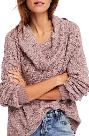 by your side sweater by Free People. Slubbed cotton-blend yarns create the  rustic texture of a lightweight sweater with a sumptuous cowl neck that  makes ... 74100858e