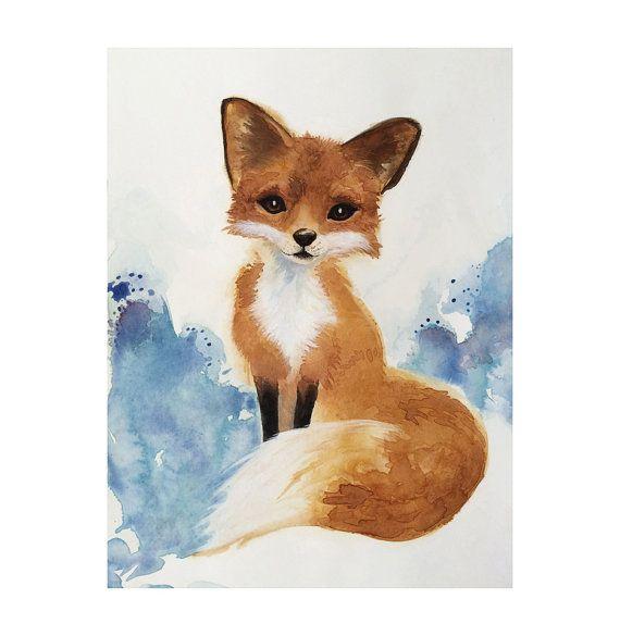 Aquarel Fox kunst met kwekerij kunst, Kids kunst, bosrijke schilderij, originele illustratie, Wildlife kunst