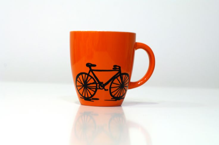 Bicycle mug with art Bicycle coffee mug - Cycling coffee mug - Bike art - Bicycle mugs - Bike mug - Cycling mug - Ceramic orange mug - Gift for her