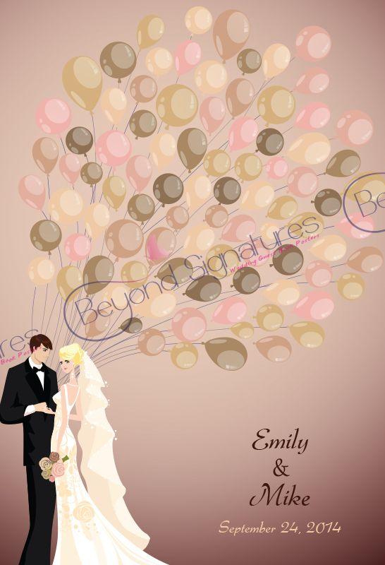 Brown, Blush... subtle modern wedding signing poster