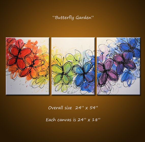 Rainbow Painting Abstract Butterlfies Triptych Large Modern