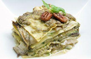 Gewoon wat een studentje 's avonds eet: Vega: Lasagne van courgette en aubergine met pesto van basilicum, macadamia en walnoten