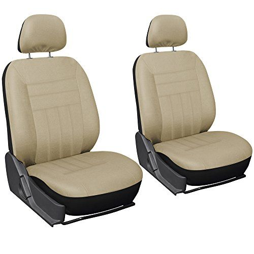 Oxgord Flat Cloth Bucket Seat Cover Set for CarTruckVanSUV, Solid Beige. For product info go to:  https://www.caraccessoriesonlinemarket.com/oxgord-flat-cloth-bucket-seat-cover-set-for-cartruckvansuv-solid-beige/