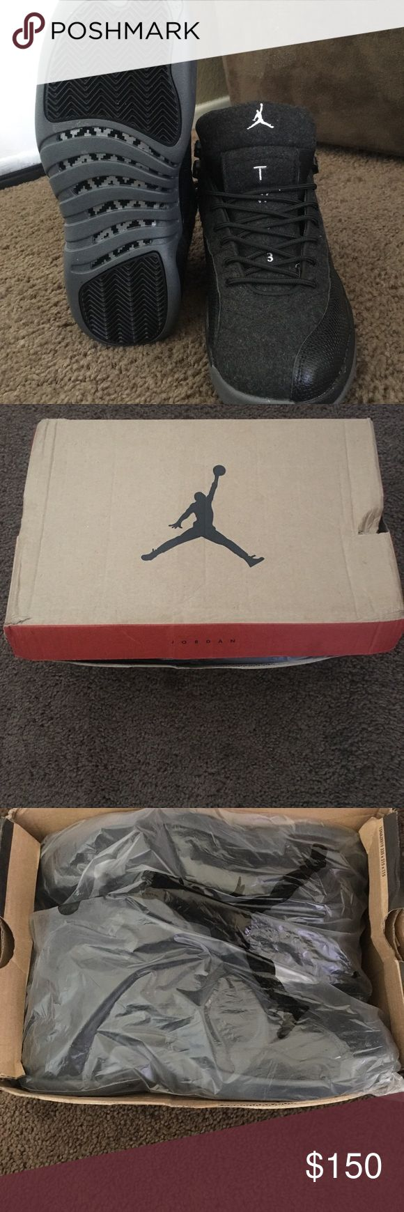 Air Jordan Retro 12 I have a size 10 in men Air Jordan Retro 12. They are still like new only been worn 2 times. They have a wool like material wrapped around them with black and grey accent colors. Air Jordan Shoes Sneakers