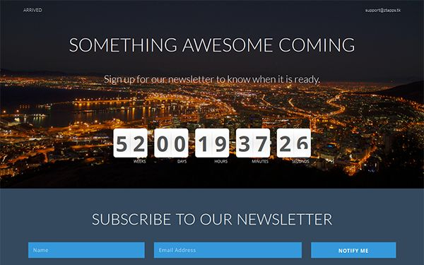 Check out the 15+ Best Coming Soon landing page Html Template at 9creativelessons.com. It includes Responsive Layout,Count Down,Email Subscribe form & more.
