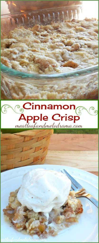 Cinnamon Apple Crisp -- This easy fall dessert is so easy and only uses a few ingredients -- no oats either!