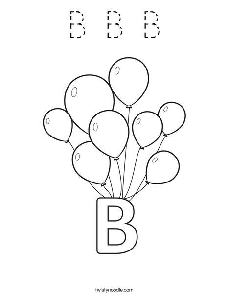 Curious George Goes to the Circus- B Balloons Coloring