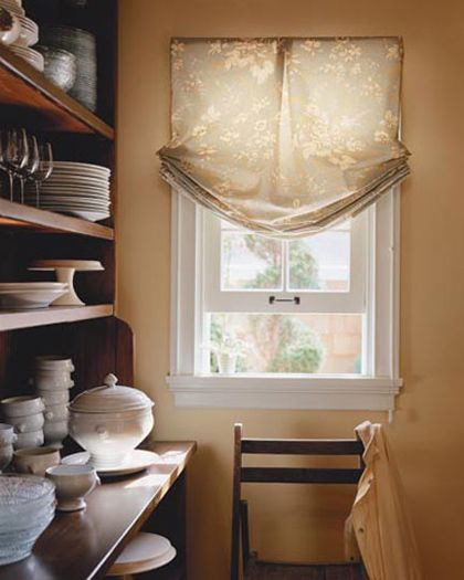 Kitchen Fabric Blinds: Roman Shades, Relaxed, Valance,kitchen, Non Functioning