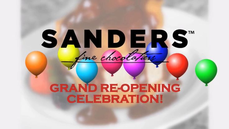 Sanders Grand ReOpening Celebration Oct 14 2017 Join us for the grand re-opening of our newly remodeled Sanders Chocolate & Ice Cream Shoppe Saturday, October 14th 23770 Hall Road   Arrive in time for the 9am ribbon cutting ceremony and meet the Lions mascot Roary from 9 to 11! Great in-store specials, free samples, fun and games throughout the day including face painting, a balloon twister and more. https://www.sanderscandy.com/reopening