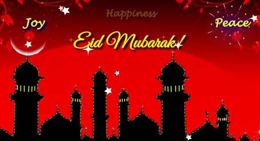 Warm Eid Wishes For Friends and Family,  Eid mubarak Greeting Ecard