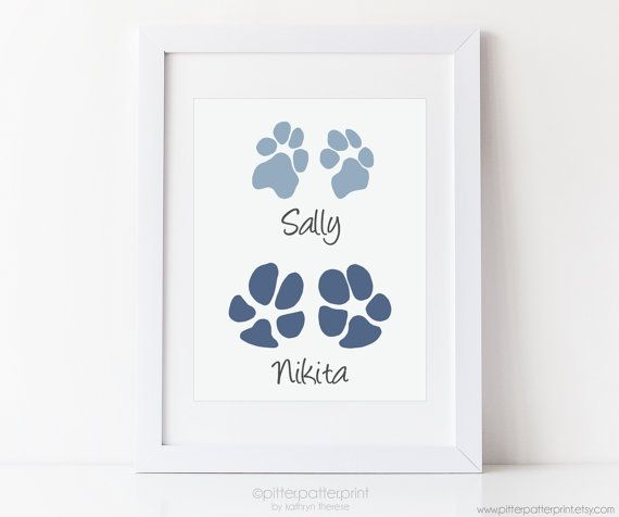 Pet Art Your Dog's Paw Prints Gift from Dog,  by PitterPatterPrint uses your Baby's Actual Footprints.