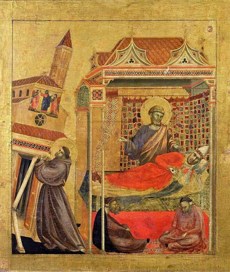 Giotto, de droom van Paus Innocentius III. Hij zag in zijn droom hoe de basiliek van Lateranen, zijn kathedraal, wankelde en dreigde in te storten. De paus leed hier zeer onder. Plots zag hij Franciscus in zijn lompenkleding bedelen. Hij stond tussen het muurwerk en hield de kerk op haar plaats.