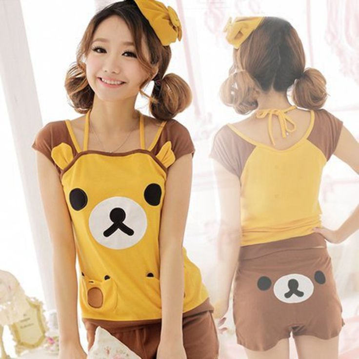 Adult Girls Rilakkuma pajamas suit in Summer Tracksuit Pyjamas t shirt 3D Animal face Ladies cartoon emoji Sleepwear for women-in Pajama Sets from Women's Clothing & Accessories on Aliexpress.com | Alibaba Group
