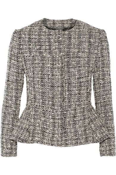 Alexander McQueen - Cotton And Wool-blend Tweed Peplum Jacket - Black - IT48