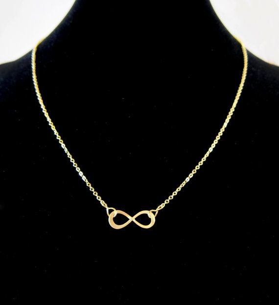 Infinity Symbol Matte Gold Pendant Chain Necklace