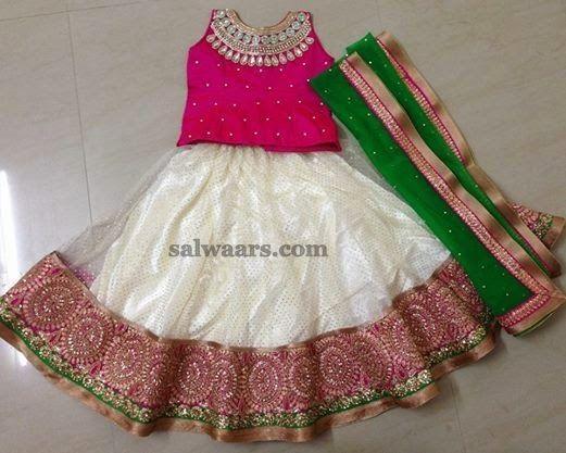 White Net Brocade Skirt