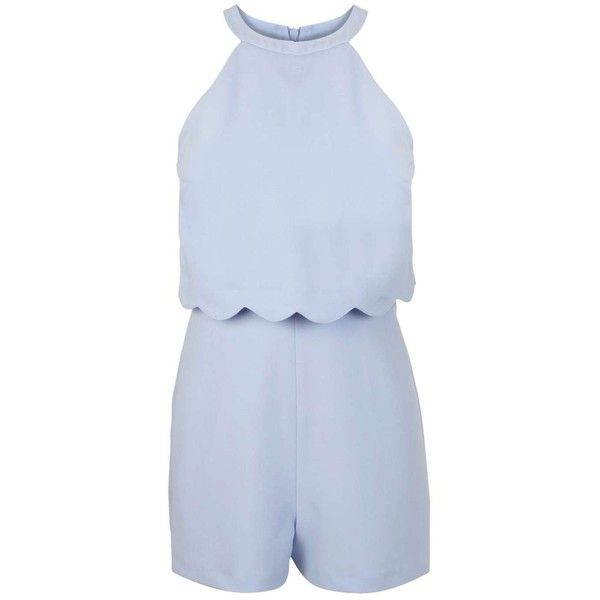 Petites Blue Scallop Playsuit - Miss Selfridge ❤ liked on Polyvore featuring jumpsuits, rompers, blue romper, blue rompers, playsuit romper and miss selfridge