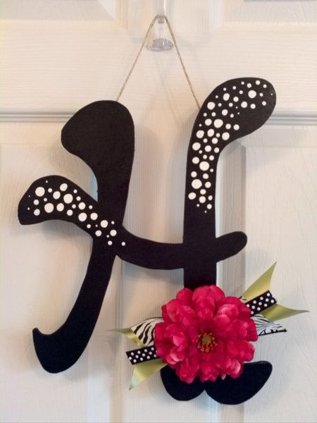 Customized Hanging Letters - Polka Dots And Zebra Prints - Super Cute Letter Door Decoration, Wreath Substitue