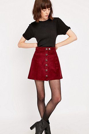 Urban Renewal Vintage Remnants Burgundy Cord A-Line Skirt - Urban Outfitters