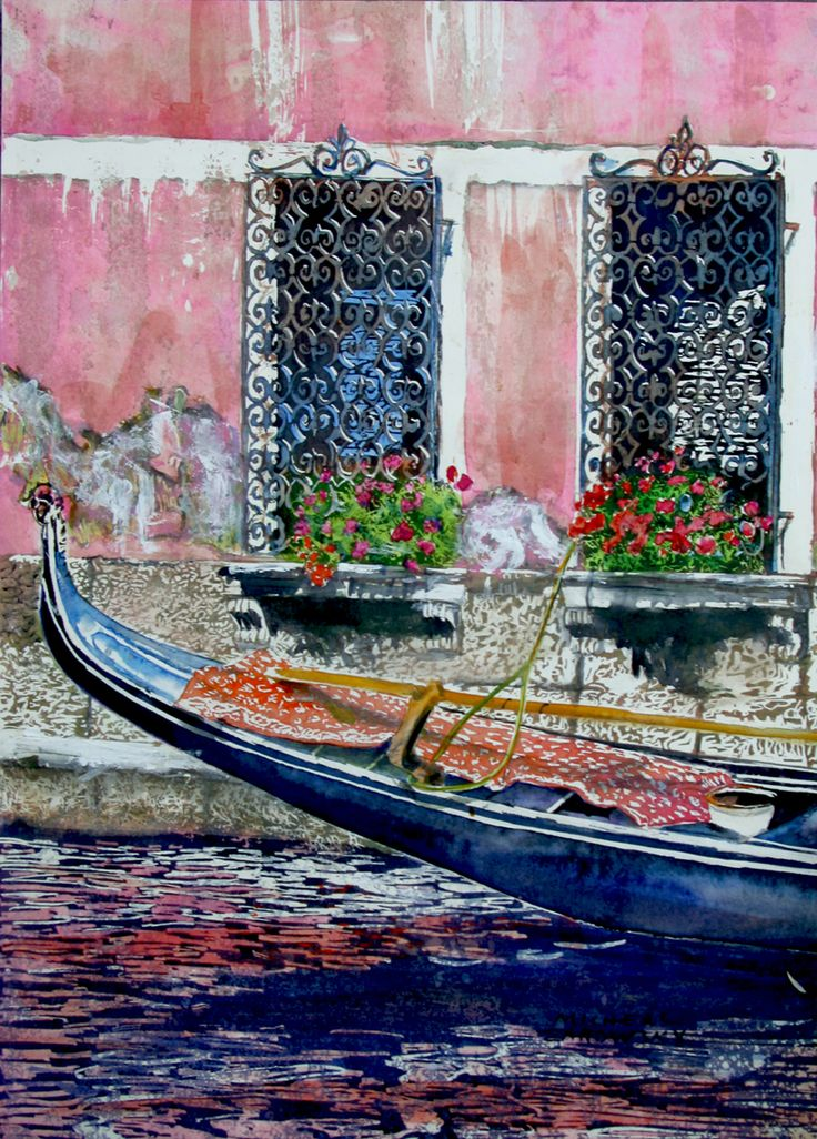 """gondola venice 18"""" x 12"""" micheal zarowsky / watercolour on arches paper / available $500.00"""