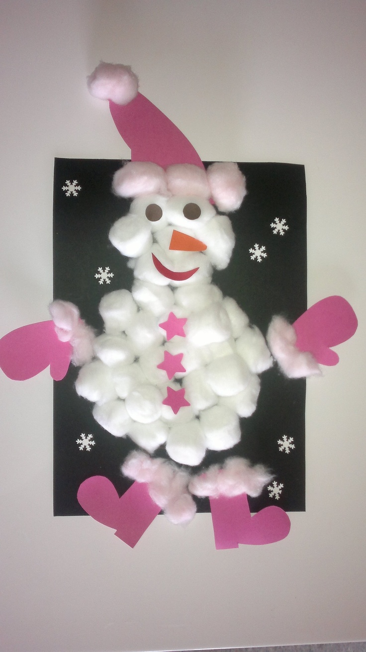 bonhomme de neige en coton et canson (fait par ma puce 3 ans et demi)