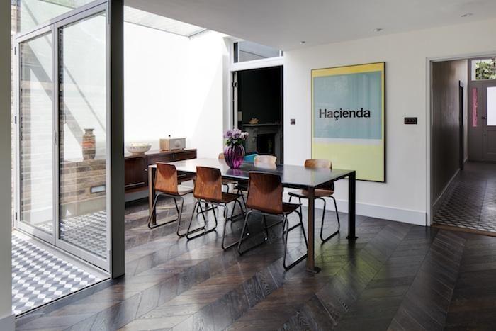 Herringbone wood floors: Chevron Patterns, Dining Rooms, Victorian House, Considered Living, Exten Ideas, Interiors Design, Woods Floors, Chevron Floors, Parquet Floors