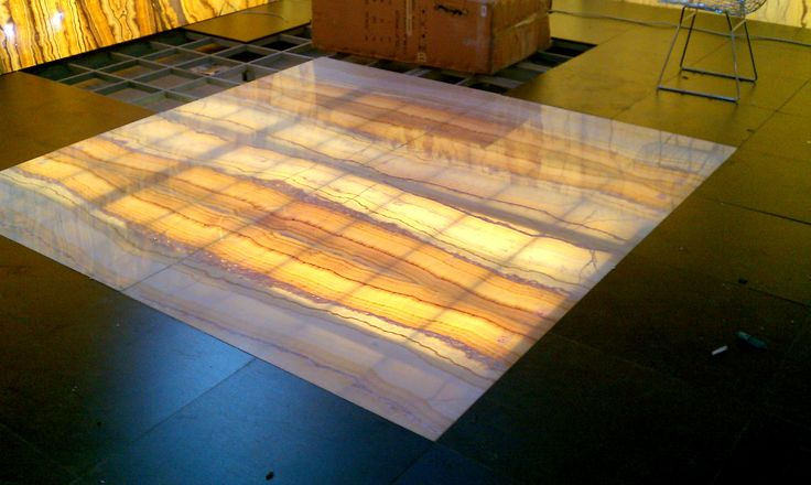 Onyx used on a floor with laminated glass.