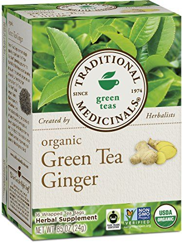 Traditional Medicinals Organic Green Tea Ginger Tea, 16 Tea Bags * See this great product @ http://www.amazon.com/gp/product/B014UHN70I/?tag=lizloveshoes-20&pop=230716062038