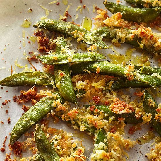 Serve irresistible and crispy Parmesan Sugar Snap Peas that get a one-two punch of texture from panko crumbs and Parmesan cheese. More ways with snap peas: http://www.bhg.com/recipes/party/seasonal/pea-recipes #myplate #veggies