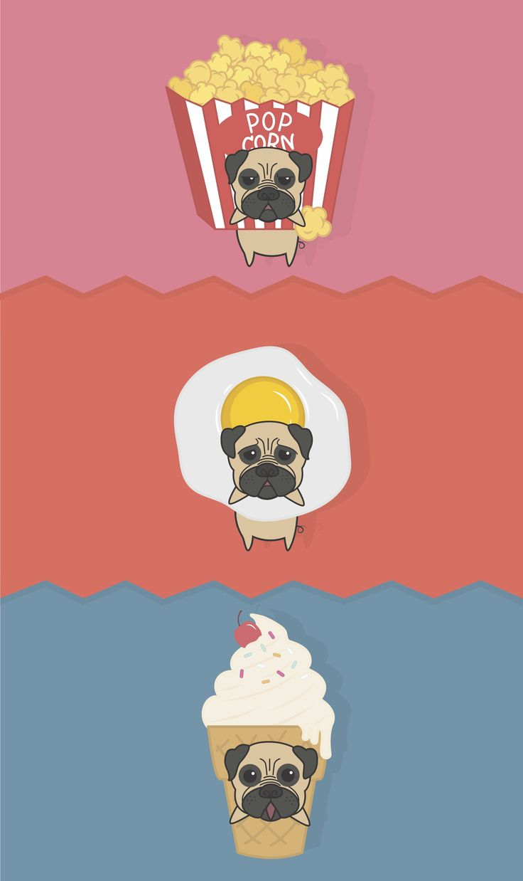 #puggie #fasfood #illustration #character #popcorn #egg #icecream