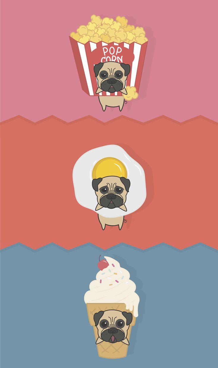 #puggie #fasfood #illustration #character #popcorn #egg #icecream