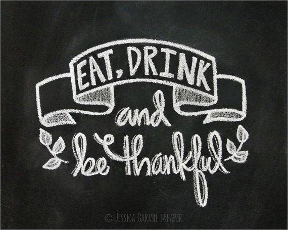 Chalkboard Print - Digital File 8x10 - Thanksgiving Printable - Thanksgiving Decor