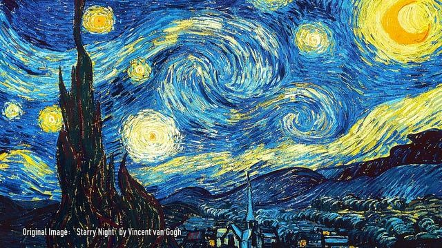 """Messing around during renderings/sims using a system based on https://vimeo.com/124701487 . I modified the Box#3 operator a bit. Nothing special other wise, when I saw the setup by Han Han Xue I was immediately reminded of van Gogh's """"Starry Night"""". So there I went...messing around.  Ansi"""