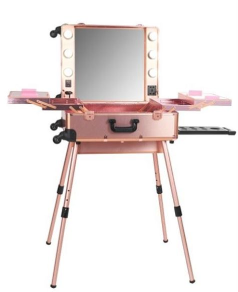 LadyMoss.com | PRO Studio Lighted Makeup Case w/ Legs - Rose Gold