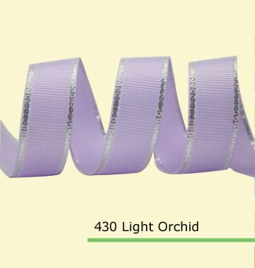 """1/4"""" Grosgrain Ribbon With Silver Edge   Lt. Orchid Grosgrain Ribbon    Celebration Grosgrain Ribbon"""