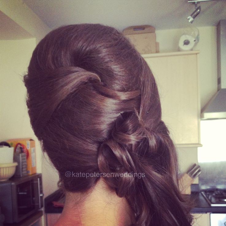 Wedding hair to the side.