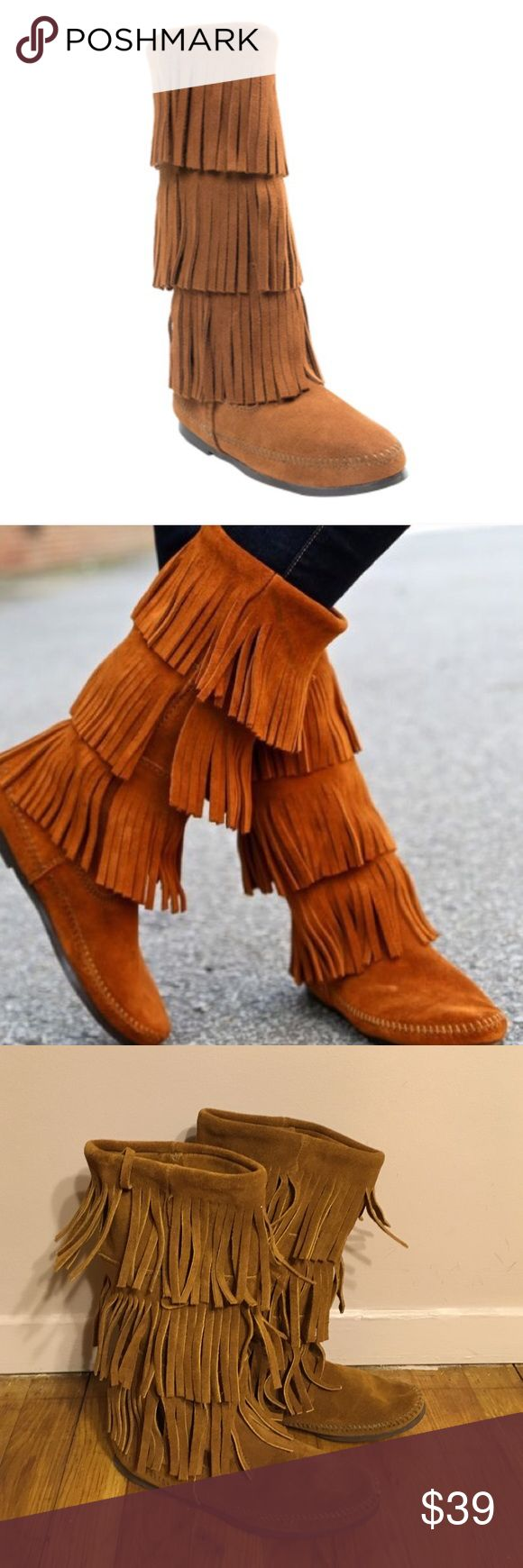 Minnetonka suede leather knee high tall lace up moccasin fringe boots - Minnetonka 3 Tier Fringe Suade Boots Minnetonka 3 Tier Fringe Suade Boots Size 6 Soft Suedemoccasinshigh