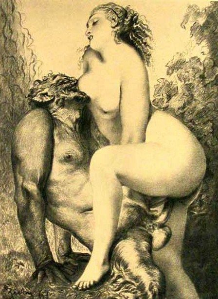 Mihaly Zichy - Nymph and Satyr. Tags: nymphs, satyrs,