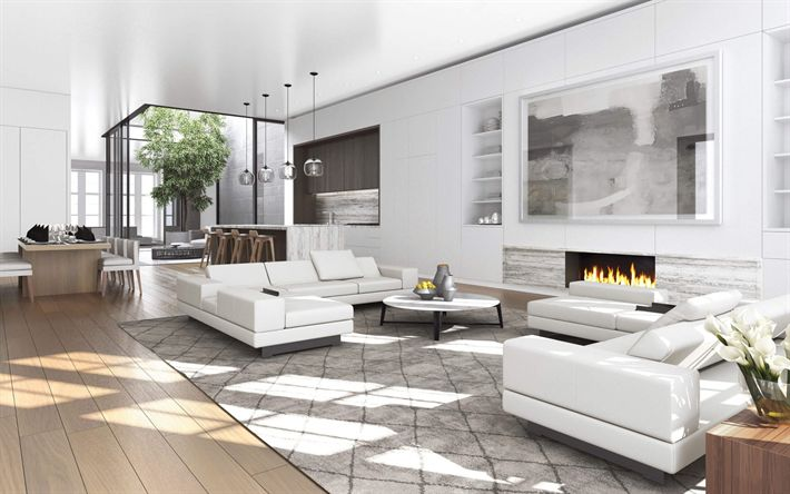 Download wallpapers Interior of living room, modern design, white interior, living room