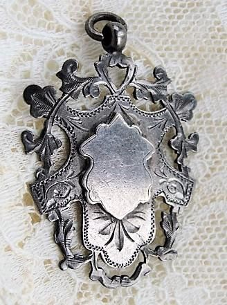 ELEGANT Antique English Sterling Silver Ornate Fob Pendant Silversmith WHH William Hair Haseler Liberty Cymric Archibald Knox Collectible Antique Silver Antique Jewelry #antiquejewelry