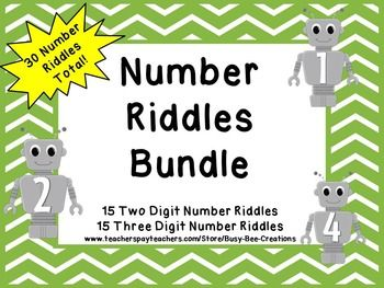 Save Money By Buying The Bundle!  Extend your students' understanding of place value using these number riddles.  This resource includes 15 two digit number riddles and 15 three digit number riddles.  Everything you need to differentiate and meet a wide range of abilities!