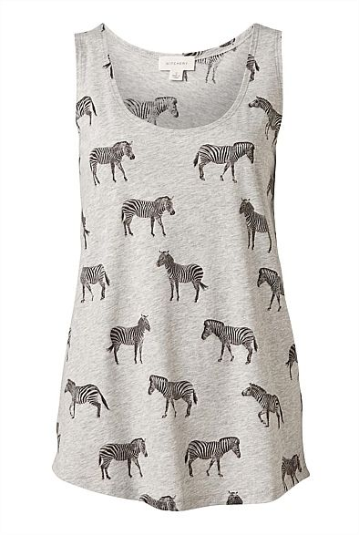 A great take on animal print, great with denim - Mini Zebra Placement Print Tank #witcherywishlist