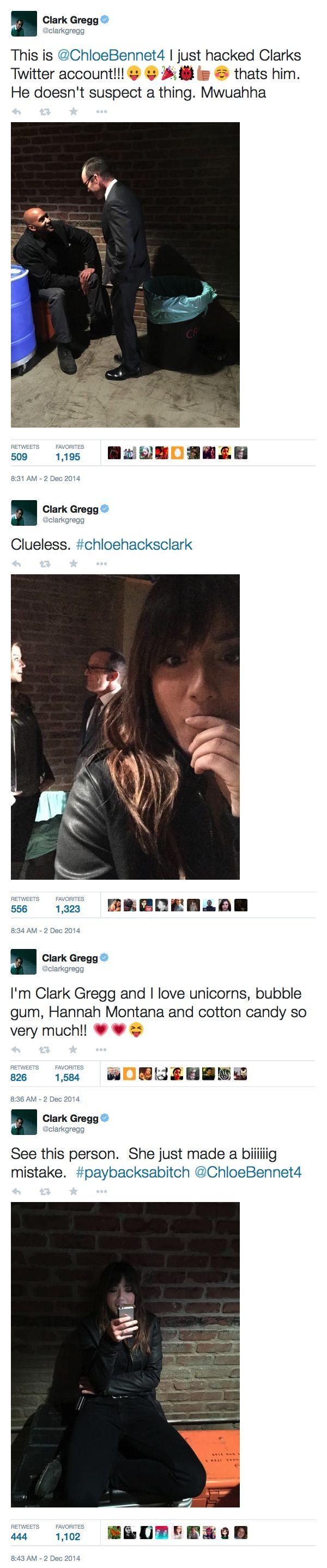 Chloe hacks Clark's twitter account! || Clark Gregg, Chloe Bennet || Twitter || #cast #humor #chloehacksclark