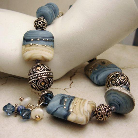 Lampwork Bracelet and Earrings Set, Sterling Silver Blue Beige Lampwork Beads Beaded Jewelry 'Denim Summer'