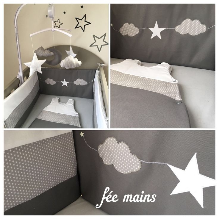 Tour de lit en coton gris imprimé étoiles blanches,blanc et gris avec étoile et nuages