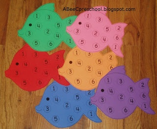 """Ocean Theme:  We played a """"spin and cover"""" number game.   A, Bee, C, Preschool"""