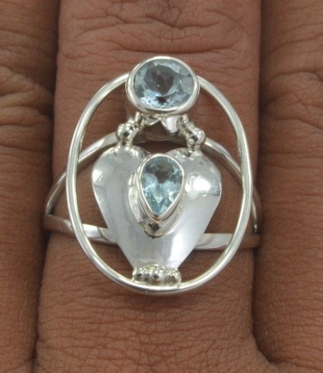 Jewelry With Soul Bali Design Blue Topaz 925 Sterling Silver Ring AU Size Q