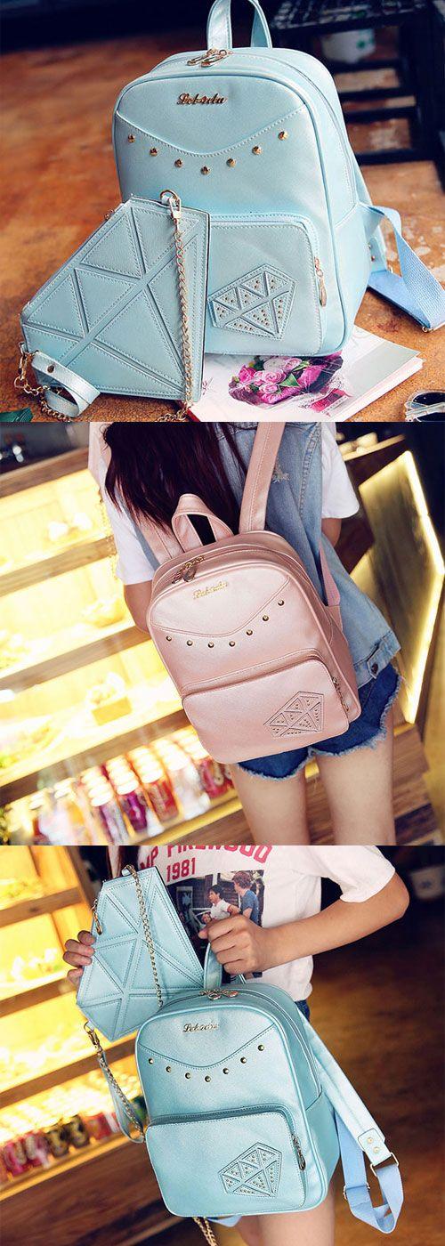 So cute backpack gift the small bag. #Sweet #Student #Bag #Rivet #PU #Rucksack…